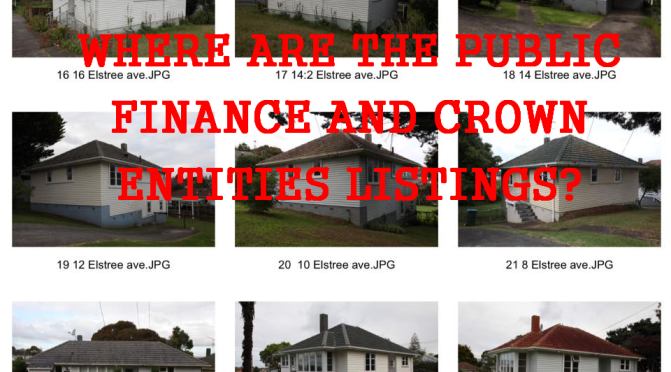 Why is a Crown Entity Company with $1.6 billion of former Housing NZ properties not listed under Sch 4A of the Public Finance Act, or Sch 2 of the Crown Entities Act?