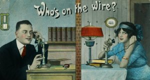 Whos-on-the-wire-image-of-couple-talking-on-ladnline-phones