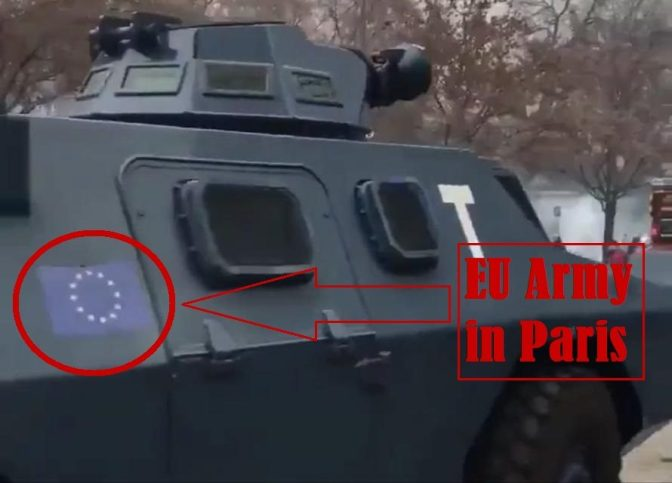 Armoured vehicles bearing EU flag deployed in Paris – clear sign that the European Army already created