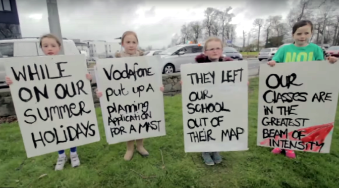 Children in Ireland protest against proposed Vodafone cell tower installation at their school