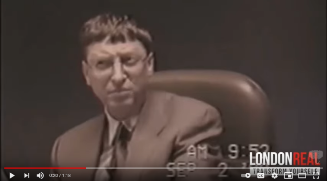 Rare footage from 1998 shows Bill Gates facing anti competitive charges in court pretending to not understand English and acting strange