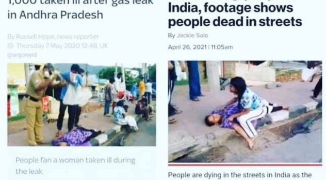 Photos from India of covid deaths match footage from 2020 gas catastrophe – are you cottoning on?
